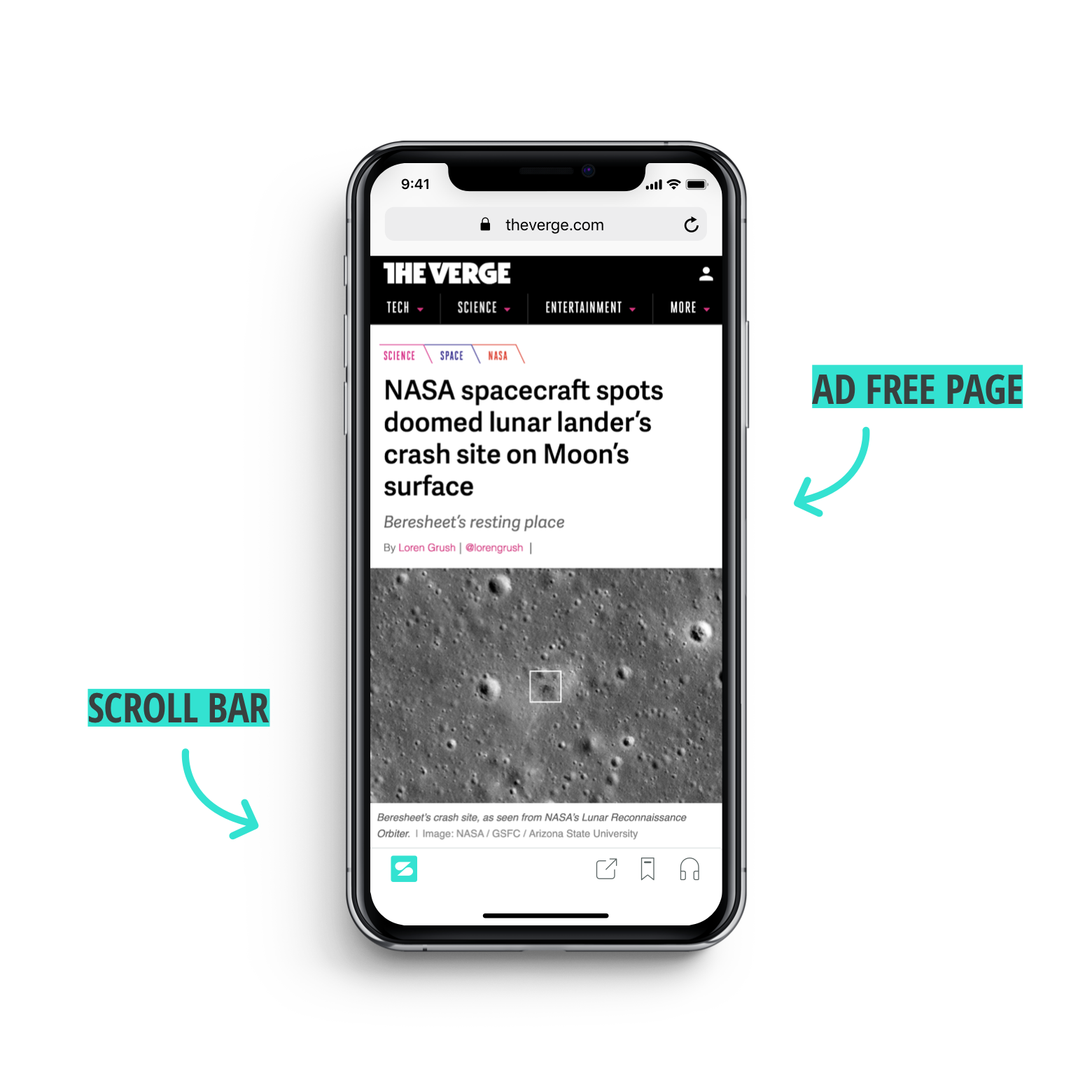 A phone screen shows ad-free browsing of The Verge using Scroll and emphasizes the Scroll bar