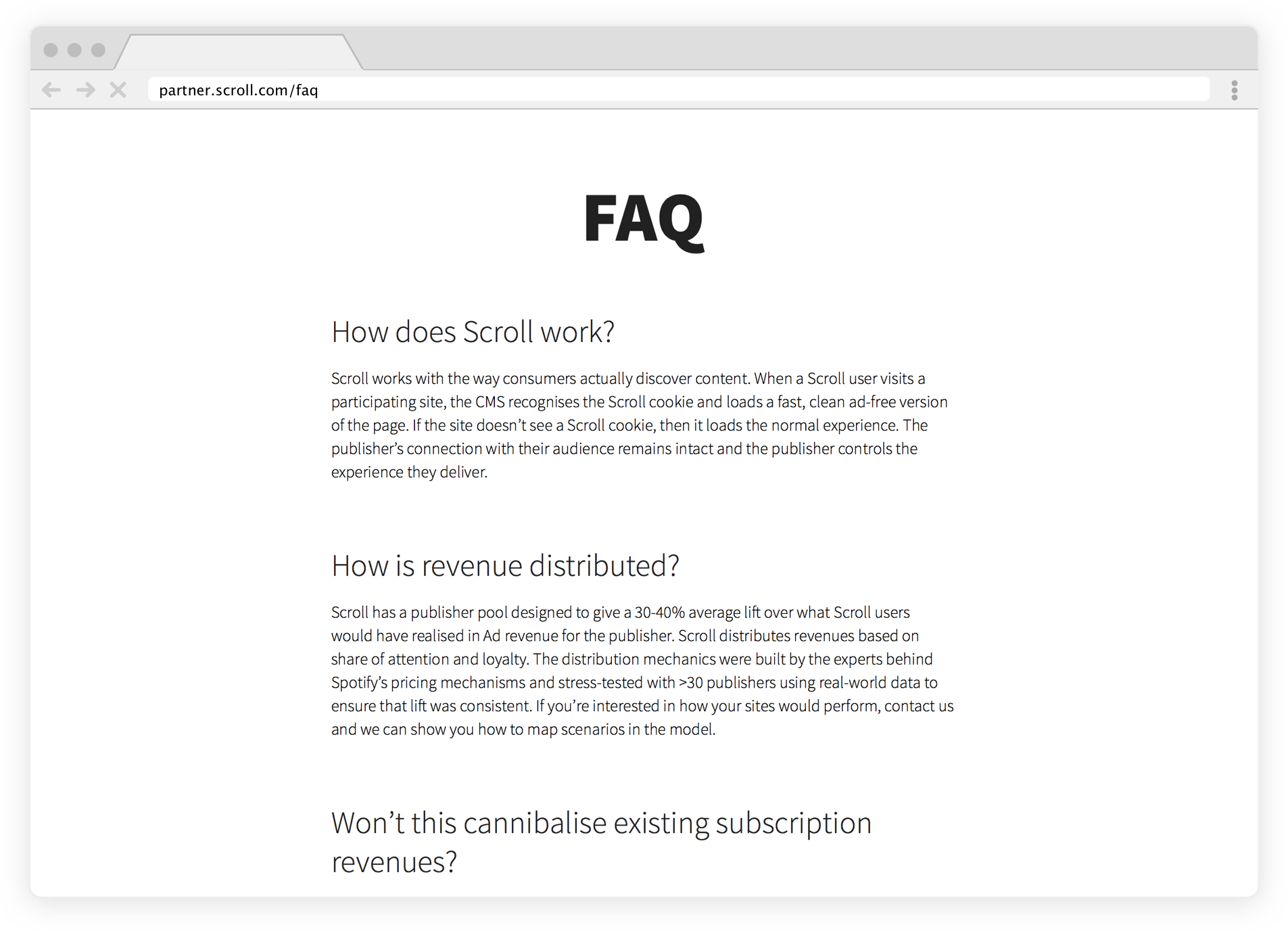 Sample of some of Scroll's FAQ page, viewable at above link.