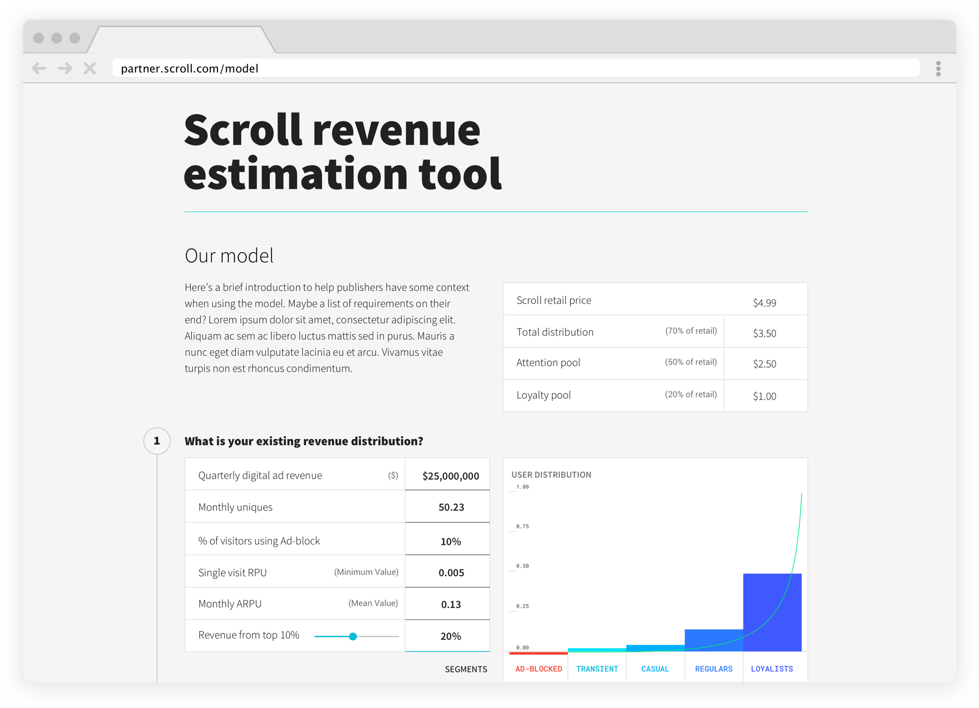 Sample view of Scroll's revenue estimation tool, which allows you to input your revenue number to get individual estimates, which you can visit at the above link.