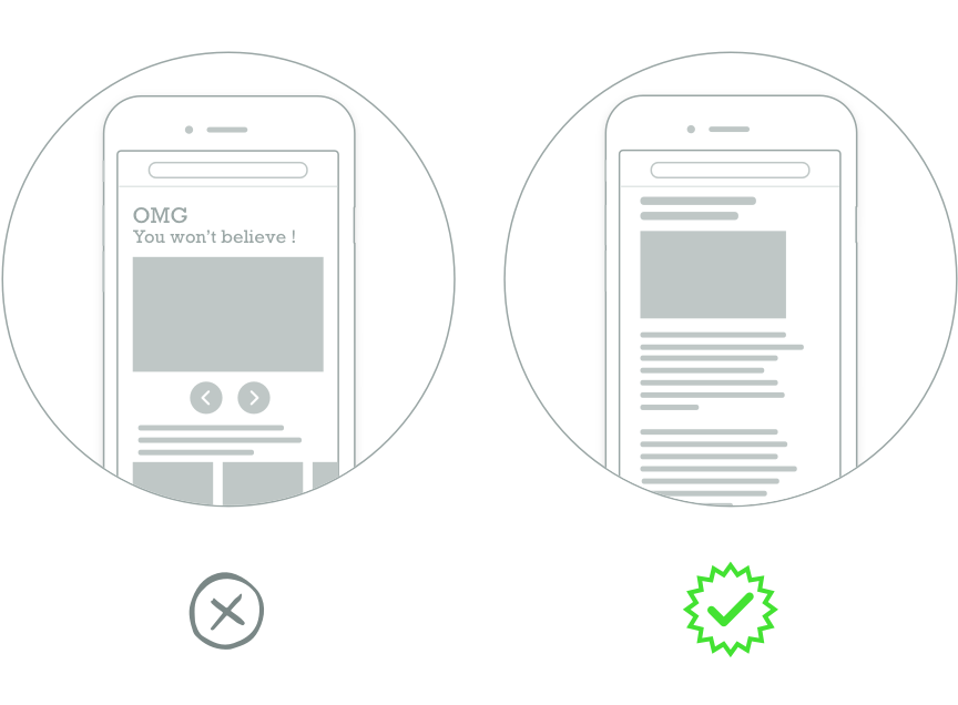 "Drawings of two phones, one with a large top-page ad that says: ""OMG You won't believe! The other shows a clean reading experience with Scroll."