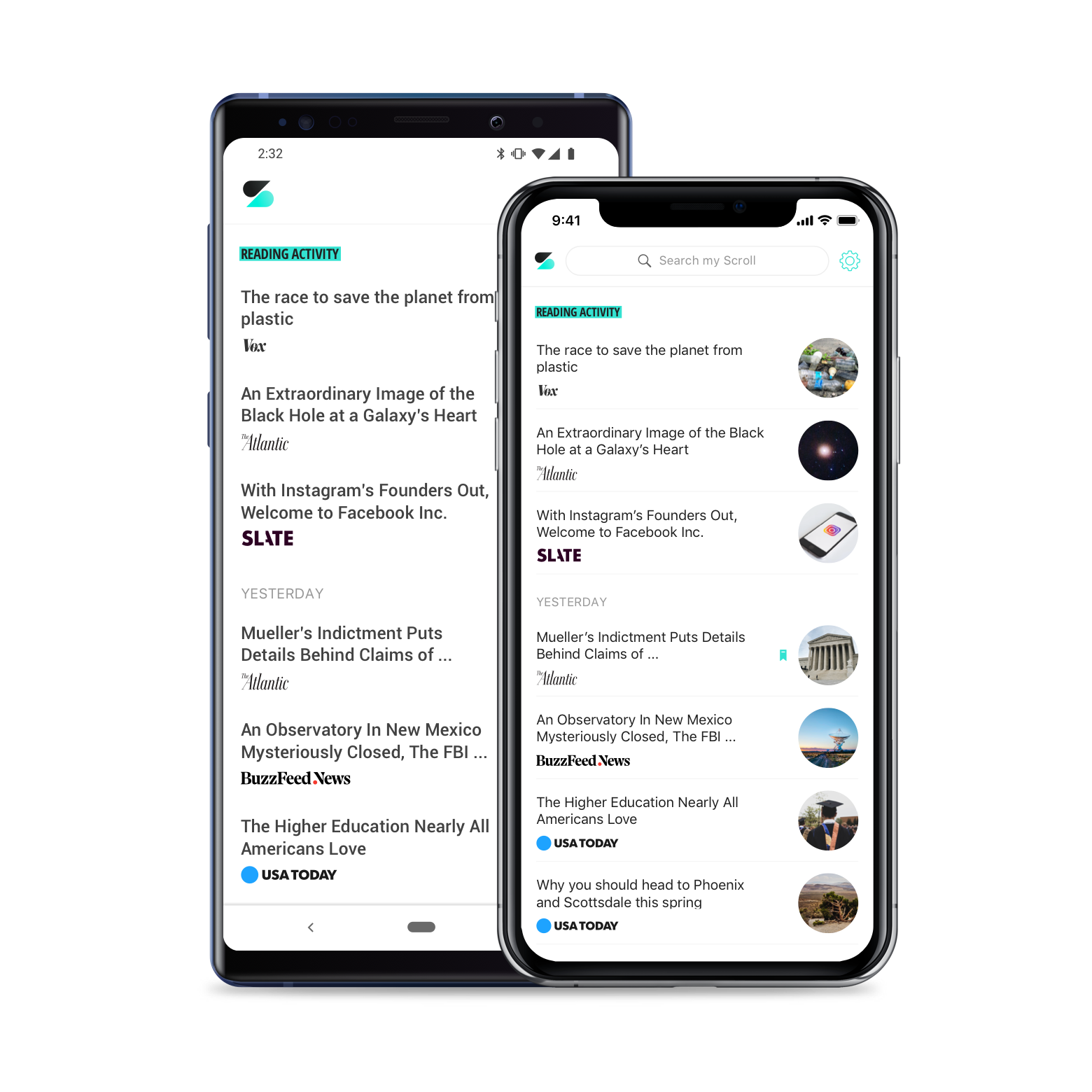An Android and iPhone X show the reading history page of the Scroll app.