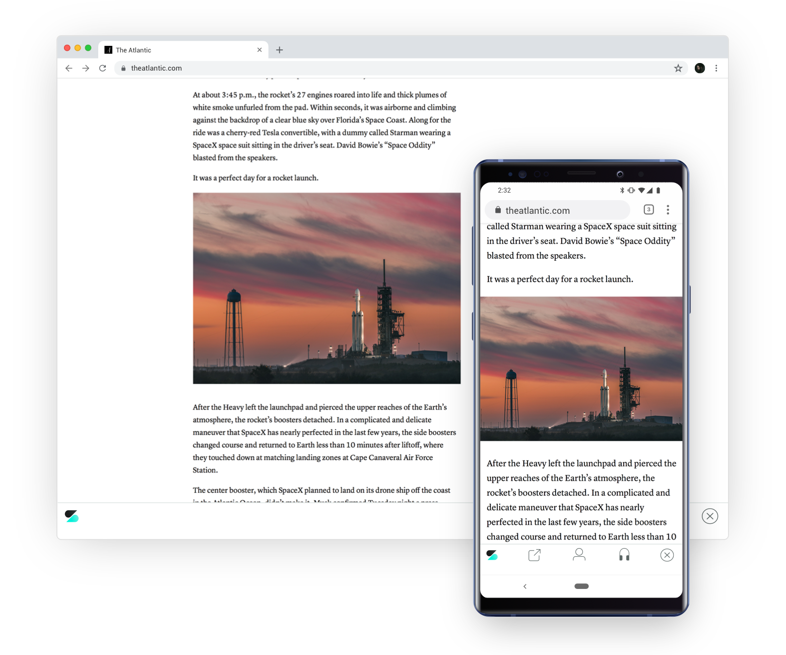 A desktop and phone show the same article, with the reading place saved by Scroll technology.